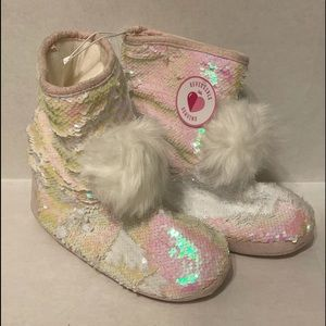 NWT Girls' Justice Sequin Boot Slippers